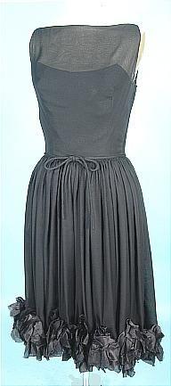 c. 1950's MAURICE RENTNER ORIGINAL Black Silk Chiffon Party Dress with Ruffled Hemline