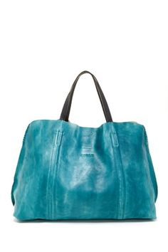 """Old Trend Solid Tote in Aqua Vintage:    - Dual top handles with attached shoulder strap - Magnetic top closure - Hand-painted leather construction - Interior features removable zip pouch with zip wall pocket and media pocket - Expandable bottom detail - Dust bag included - Approx. 14.5"""" H x 21-25"""" W x 5.5"""" D - Approx. 6.5"""" handle drop, 13"""" strap drop - Approx. 13.5"""" L x 18"""" W x 5"""" D zip pouch"""