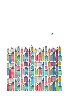 Houses and Bird Print | Little Paper Planes