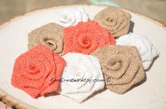 Coral Natural and White Burlap Flowers Wedding by EmaCreates