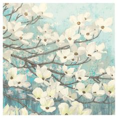 Blue and white canvas print with a floral motif.   Product: Wall artConstruction Material: CanvasFe...