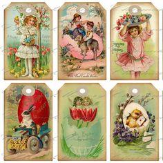 Vintage Easter Tags | Vintage Easter Hang Tag (1) Printable Digital Collage Sheet - INSTANT ...