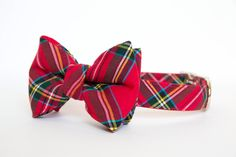Christmas Dog Bow Tie Plaid Collar - Bright Red Holiday Tartan by pecanpiepuppies on Etsy https://www.etsy.com/listing/164418955/christmas-dog-bow-tie-plaid-collar