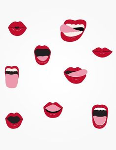 lip and mouth illustrations Illustration Inspiration, Art Et Illustration, Pattern Illustration, Textures Patterns, Print Patterns, Pattern Design, Free Pattern, Design Art, Drawing People