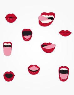 lip and mouth illustrations Illustration Inspiration, Art Et Illustration, Pattern Illustration, Textures Patterns, Print Patterns, Pop Art, Art Design, Graphic Design, Pattern Design