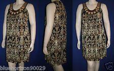 NIC & DOM Sleeveless Ethnic Beaded Brown Dress sz~L NWT