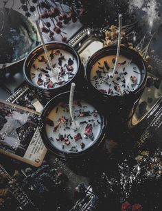 We 💙 these Herbal Candles by . Skip the chemical fragrance oils and scent your candles the natural way with dried herbs. Dried lavender and rose petals + just a little lavender oil = HEAVEN. Candle Spells, Candle Magic, Magick, Witchcraft, Wiccan Spells, Magic Spells, Witch Aesthetic, Aesthetic Dark, Aesthetic Bedroom