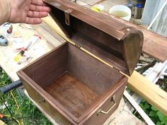 """How to Build a Simple Treasure Chest - I made 3 of these w/""""secret"""" compartments for Hannah/Grace/Sophie for Grandpa Camp"""