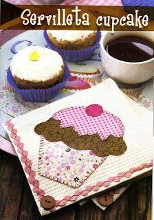 Guardanapo em patchwork cupcake com molde