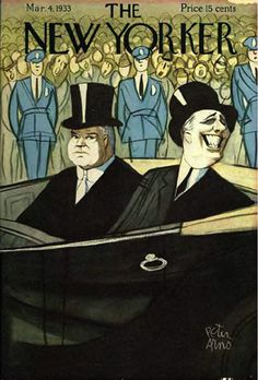 A New Yorker cover that never ran. It was supposed to have been printed to mark FDR's first inauguration (that's him in the car, grinning, next to a sullen President-Defunct Hoover). But on Feb. 15, a man  named Giuseppe Zangara shot at Roosevelt. He missed, but hit Mayor Anton Cermak of Chicago, who eventually died, and the New Yorker's editors deemed the cover inappropriate.