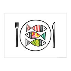"""""""Fish Supper"""" by Jane Foster. Poster for sale at IKEA. Ikea Picture Frame, Picture Wall, Illustrations, Illustration Art, Fisher, Jane Foster, Fish Supper, Fish Print, Textiles"""