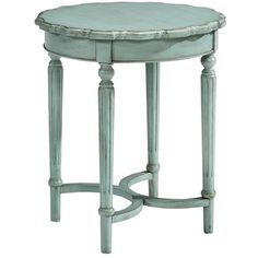 Magnolia Home Antiqued Wooden Side Table ($350) ❤ liked on Polyvore featuring home, furniture, tables, accent tables, blue, wooden table, blue end table, distressed side table, wood accent table and blue table