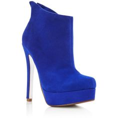 Kristin Cavallari Lavish Suede Heeled Booties ($80) ❤ liked on Polyvore featuring shoes, boots, ankle booties, bright cobalt, suede heel boots and kristin cavallari