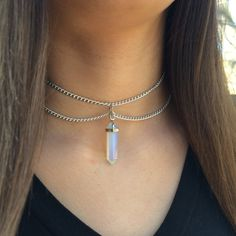 Choker Opal Point Crystal Pendant by TheHipsterHut on Etsy