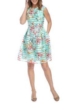 Sandra Darren  Floral Stripe Organza Fit and Flare Dress