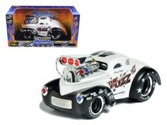 """1941 Willys Coupe Metallic White """"Muscle Machines"""" 1/24 Diecast Model Car by Maisto"""