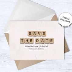 Save The Date Card  Downloadable Card  Wedding Announcement image 3 Scrabble Tile Art, Scrabble Letters, Announcement Cards, Wedding Announcements, Printable Cards, Printables, Scrabble Wedding, Happy Birthday Printable, 65th Birthday