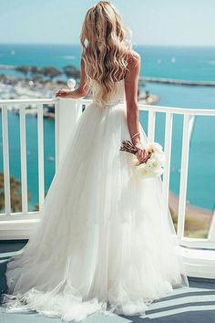 Ivory Tulle Destination Sweetheart Spaghetti Strap Wedding Dress WD082 #weddings #dress #weddingdress