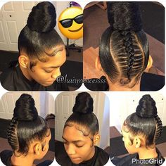 """Ms Dominique Hair Queen (The HairQueen) on : """"Feed in bun hairprincessss Click the image now for more info. Ponytail Styles, Ponytail Hairstyles, Braid Styles, Girl Hairstyles, Relaxed Hairstyles, Protective Hairstyles, Sheila, Natural Hair Styles, Long Hair Styles"""