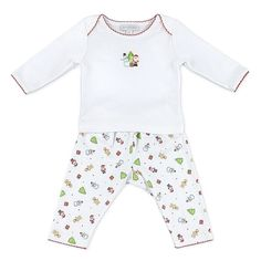 Pima cotton two piece pant set with embroidered top and print pants.. - Coordinates with other items in the Christmas Joy Collection - Hand Embroidered - Envelope Shoulders - 100% Pima Cotton - Import