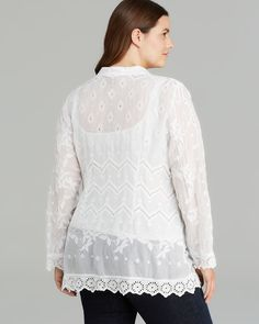 Johnny Was Collection Plus Eyelet Cardigan   Bloomingdale's