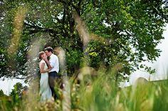 Bride & groom kissing under tree.  Shot taken through grass.