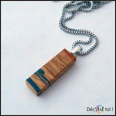 Pendentif rectangle en bois exotique peint à la main  par DecArttoi