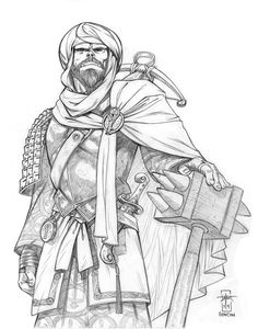 Trade Prince Credar Kassan of the Great Dune, Emissary of Abadar (PC portrait) Graphite on bristol GenCon 2014 An Arabian-themed half-orc Inquisitor fro. Trade Prince Credar Kassan of the Great Dune D D Characters, Fantasy Characters, Character Portraits, Character Art, Avatar World, Western World, Dungeons And Dragons, Adult Coloring, Art Reference