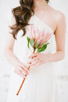 """single protea bouquet, photo by Blush Wedding Photography - like this idea for the """"budget limited"""" bride :) Protea Wedding, Floral Wedding, Wedding Bouquets, Wedding Flowers, Wedding Peach, Wedding Dresses, Big Bouquet Of Flowers, Single Flower Bouquet, Cascading Bouquets"""