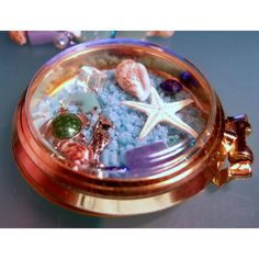 Beach Floating Locket-Vintage Recycled Glass Pocket Watch-Floating... ($27) ❤ liked on Polyvore featuring jewelry, pendants, chain pocket watch, pocket watch, gold charms, vintage pocket watch and pocket watches
