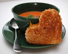 Creamy Tomato Soup and Grilled Cheese (cut with cookie cutter for Valentine's Day)