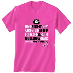 UGA Breast Cancer t shirt $19.99