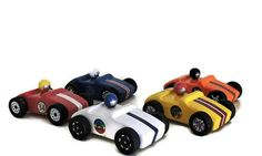 Set of five little race cars for play and/or cake toppers.  Toys for boys Toys for girls birthday cake topper Race car