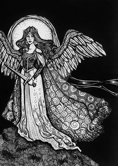 Guardian by Ithelda on DeviantArt Fantasy Drawings, Art Drawings, Traditional Art, Graphite, Coloring Pages, Artworks, My Arts, Deviantart, Black And White