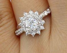 Elegant Affordable Custom Moissanite by SolitaireRingJeweler Diamond Flower, Halo Engagement, White Gold Rings, Wedding Ring Bands, Moissanite, Solitaire Ring, Elegant, Gift, Jewelry