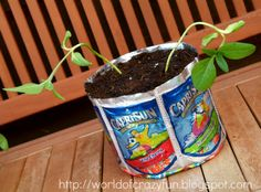 Juice pouch planter
