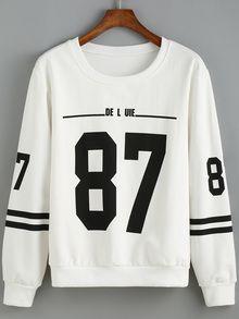 Round Neck Number Print Striped Sweatshirt Roupas Bonitas b43deff76ffa8
