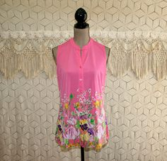 Womens Summer Tops Sleeveless Knit Blouse Button Up Floral