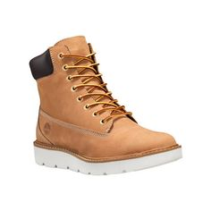 """Women's Timberland Kenniston 6"""" Lace Up Boot - Wheat Nubuck Ankle... (930 DKK) ❤ liked on Polyvore featuring shoes, boots, tan, laced up ankle boots, timberland boots, long boots, tan boots and bootie boots"""
