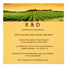 Vineyard Sunset Winery Wedding Invitation Personalized Announcements
