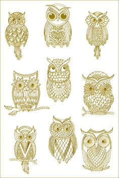 golden owls (machine embroidery designs)
