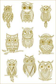 golden owls (machine embroidery designs)