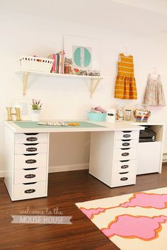 Sewing Studio Inspiration Something like this might work well for my sewing space. The drawers would take the place of my boxes on a shelf...