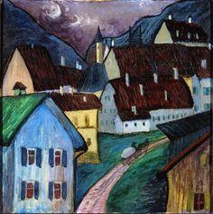 Marianne von Werefkin (Russian-German, 1860 - 1938)  Evening in Murnau, 1906-1910  Oil on canvas