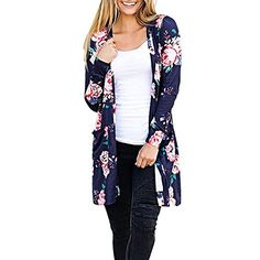 cc3810d99d iBaste Women Ladies Floral Open Front Pocket Long Cardigan Boho Kimono  Cover Up Coat Top