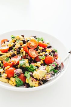 A healthy and delicious Vegan Black Bean Salad with Corn and Avocado In A Tangy Lime Dressing - No-Cook, Full Of Heart Healthy Fat and Loaded With Flavor!