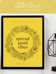 "High quality printed prints and posters using eco-friendly inks on thick 200lb paper. This print can be framed or hung unframed as a thick poster. An inspirational design needed during these turbulent times. Reads ""spread good vibes"" with the phrases, POSITIVE THOUGHTS, POSITIVE LIFE printed top and bottom. Add this cheery yellow print where it will inspire you everyday, makes a great gift too! #goodvibes #positive #positivethinking #inspirational #posters #print #homedecor #walldecor #art"