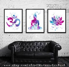 Buy 2 Get 1 FREE!!! Special offer, Yoga 2 Watercolor art Print in blue and purple, Buddha  watercolor, Buddha art, Om Symbol Yoga art