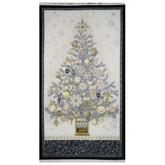 Winter's Grandeur 3 Christmas Tree Panel Cotton Fabric - Winter by Beverlys.com