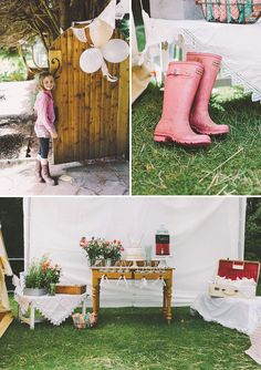 A Glamping Birthday with a DIY white fabric tent, sweet floral decor & wildflower bouquets, lace doily garlands + vintage furniture & dessert table